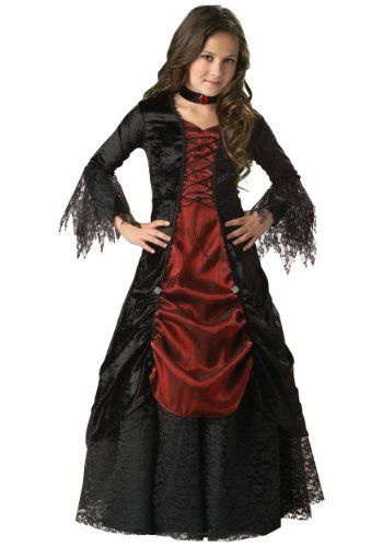 Gothic Vampire Dress (InCharacter Costumes, LLC Girls 7-16 Gothic Vampira Gown Set, Black/Burgundy, 10)