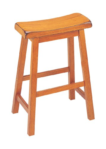 ACME 07307 Set of 2 Gaucho Saddle Stool, Oak Finish