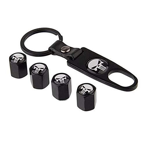 Car Wheel Tyre Tire Stem Air Valve Caps Key Chain Set (Skull Only Caps Valve)