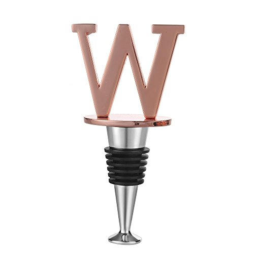 (Wine and Beverage Bottle Stopper With Rose Gold Finish,W-Initial (Letter W))