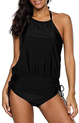 beautyin Womens Tankini Swimwear Blouson Halter Two Piece Swimsuit Tummy Control