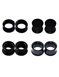 "D&M Jewelry 8pcs 6g-7/8"" Thin Thick Solid Silicone & Stainless Steel Ear Tunnels Plugs Piercing"