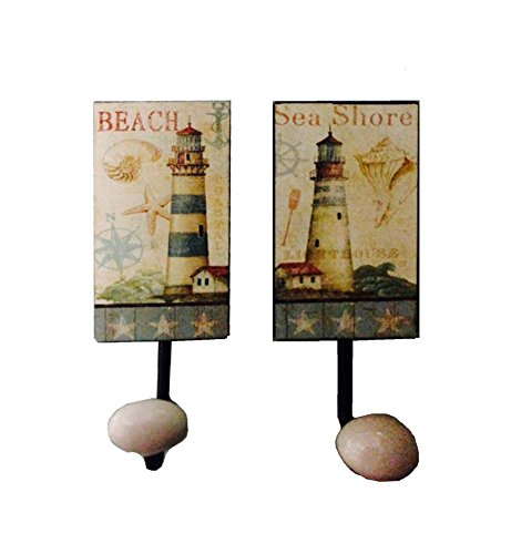 Beach Scene Lighthouse - Vintage Metal Beach and Lighthouse Scene Wall Hooks - Set of 2