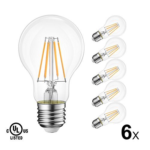 Lvwit A19 Vintage Edison Led Filament Bulb E26 Base  4W  40W Equivalent   Warm White 2700K  470 Lumens  Non Dimmable  5 Year Warranty  Ul Listed  Pack Of 6