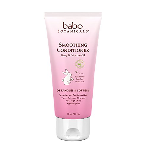 Babo Botanicals Smoothing Conditioner, Berry Primrose, 6 Ounce - Natural Conditioner, Detangles Curls, Organic Ingredients