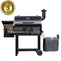 Z GRILLS Wood Pellet Grill & Smoker 7 in 1 Electric BBQ Grill – 700Sq.in Cooking Area for Outdoor BBQ Smoker Roast, Bake,Braise and BBQ Grill with Free Grill Cover by fabulous Z GRILLS