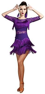 Z&X Women Lace Fringe Flapper Tango Rumba Cha Cha Latin Dance Dress with Shorts