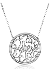 "Sterling Silver ""Believe"" Monogram Necklace, 18"""