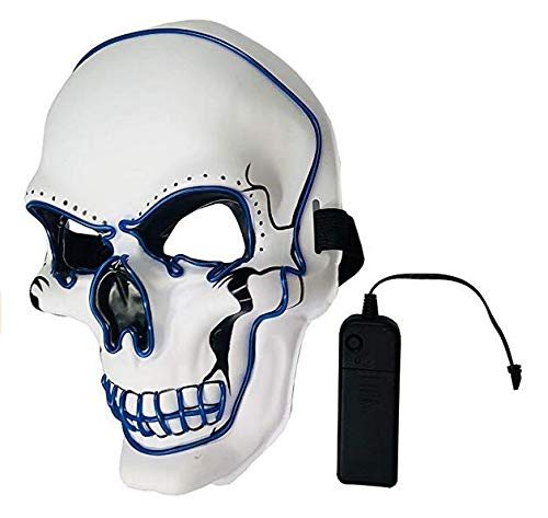 LED Halloween Mask,Scary mask with LED Light,Cosplay Glowing mask for Halloween Festival Party White