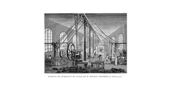 Grabado antiguo (1878) - Xilografía - Barcelona.- Fábrica De Máquinas De Coser De D. Miquel Escuder (13x22), Alos, E.: Amazon.es: Hogar