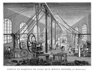 Grabado antiguo (1878) - Xilografía - Barcelona.- Fábrica De Máquinas De Coser