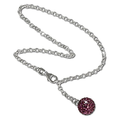 SilberDream anklet glitter ball with purple Zirconia, 925 Sterling Silver 9.8 inch SDF010V (Bracelet Glitter Ball)