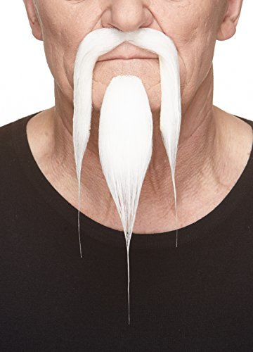 Mustaches Self Adhesive, Novelty, Fake Shaolin Beard and, White Color