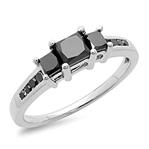 1.25 Carat (ctw) Sterling Silver Princess & Round Black Diamond Bridal 3 Stone Ring 1 1/4 CT (Size 7)