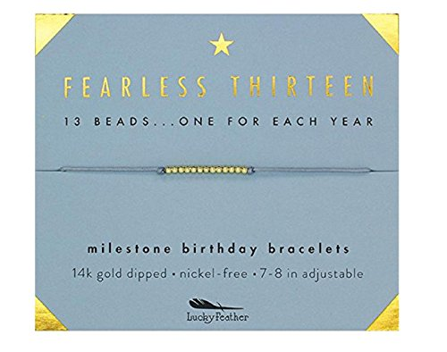 "Lucky Feather Gifts For 13 Year Old Girl - 13th Birthday Bracelet With 14K Gold Dipped Beads on Adjustable 7""-8"" Cord, Designed in Los Angeles"