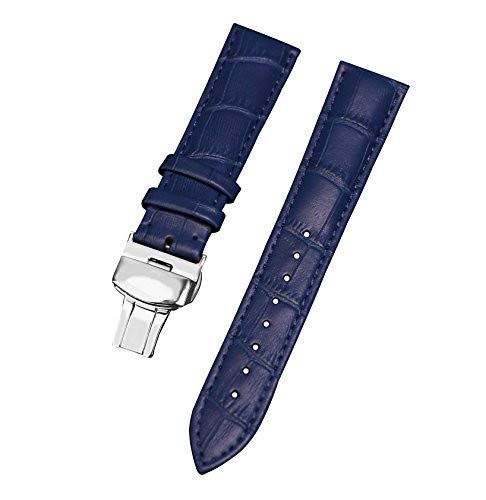 22mm Blue Leather Watch Band Calfskin Watch Straps Men'S Watch Wristband Watch Belt for Man and Women