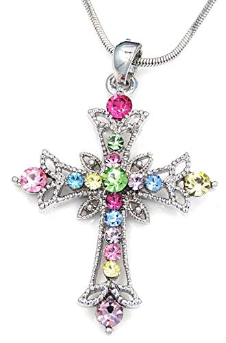Crystal Austrian Cross - JAATE Cross Multi Color Austrian Crystal Pendant Charm Silver Necklace