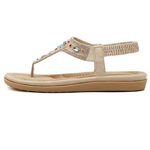 D2C Beauty Womens Bohemia Rhinestone Beads Flat Thong Sandals Apricot-2 pXItHOGVcF