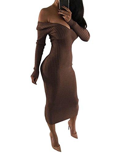 Subtle Flavor Women Sexy Knitted Off Shoulder Deep V Neck Long Sleeve Bodycon Long Dress