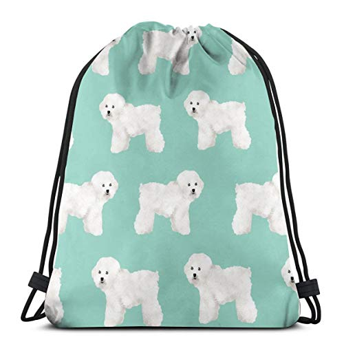 Bichon Frise Dog Print Mint Dog Cute Dog Breed Dog Breed Fabric_2074 Drawstring Backpack Gym Spacious Pull String Backpack for Sport School Traveling Gym Basketball Yoga 13x18 inch13x18 inch