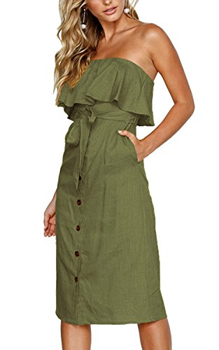 (Hibluco Women's Sexy Off Shoulder Ruffles Belted Button Front Solid Dress (Medium, Army Green))
