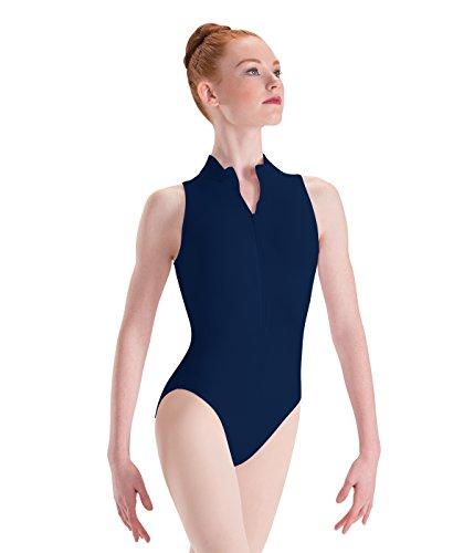 Motionwear Zip Front Mock T High Cut Leotard, Navy Blue, Small Adult