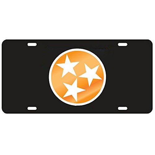 (Tennessee Volunteers Black Tri-Star Laser Cut License Plate)
