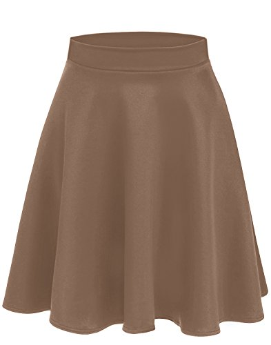 Simlu Womens Skater Skirt, A Line Flared Skirt Reg & Plus Size Skater Skirts USA Mocha - Midi (Features Product Line)