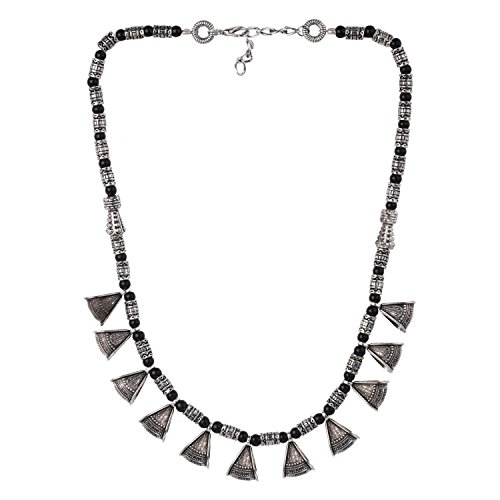 e Antique Ethnic Gypsy Tribal Indian Oxidized Silver Beaded Statement Necklace Jewelry ()