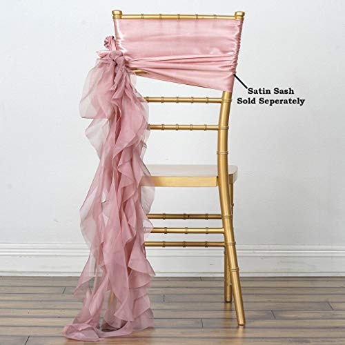 Efavormart 5pcs Chiffon Dusty Rose Curly Chair Sashes for Restaurant Kitchen Party Decorations Wedding Banquet Event -