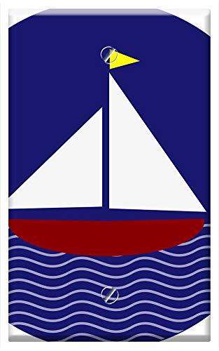 Single-Gang Blank Wall Plate Cover - Boat Sailing Flag Circle Transportation Sailboat