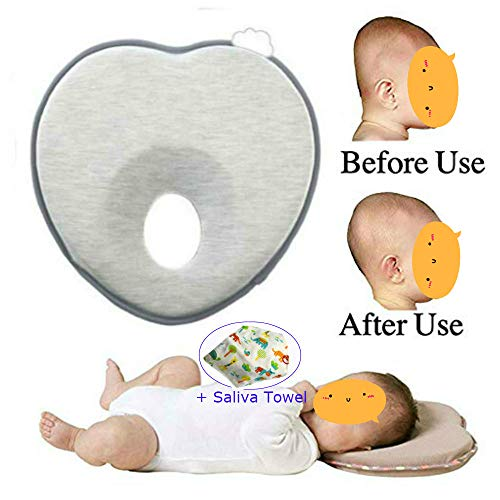 Onefuntech Baby Head Shaping Pillow, Newborn Infant Anti Roll Pillows Neck Prevent Baby Flat Head Pillow Made with Breathable Memory Foam Cotton, Ergonomic Design Baby Gifts
