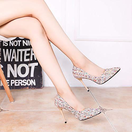 GTVERNH Damenschuhe Mode Gut mit Scharfen Spitze Gewirke Farbe Farbe Farbe Einzelne Schuhe 10Cm High - Heel Flachen Mund Sexy Schuhe Herbst Neuer Stil. 7dd29a
