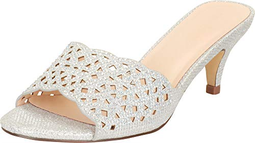 Cambridge Select Women's Open Toe Laser Cutout Slip-On Mid Heel Mule Slide Sandal,9 B(M) US,Silver Glitter/Crystal