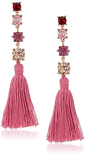 Badgley Mischka Womens Multi Stone Pink Tassel Drop Earrings, Gold Tone, One Size by Badgley Mischka