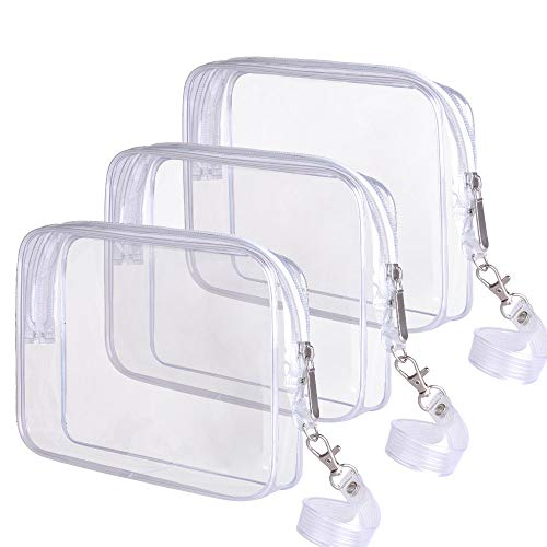 3 PACK TSA Approved Toiletry Bag Ariza Clear Travel Cosmetics Bags With Handle Strap Airline Compliant 3-1-1 Liquids Toiletries Kit Quart Size Carry-On Luggage Pouch for Women and Men(Clear)