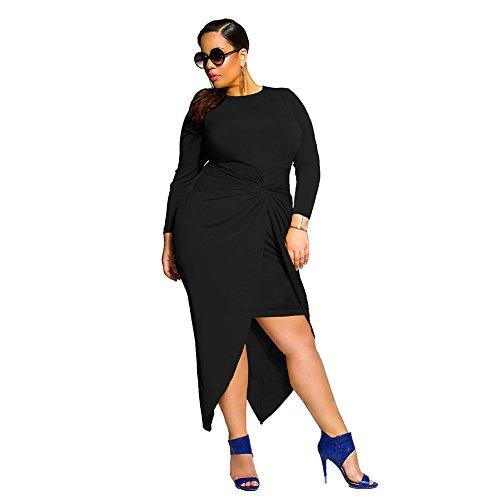 BewBezaubernde Schwalbenschwanz-Falten-festes schwarzes Kleid plus Größe