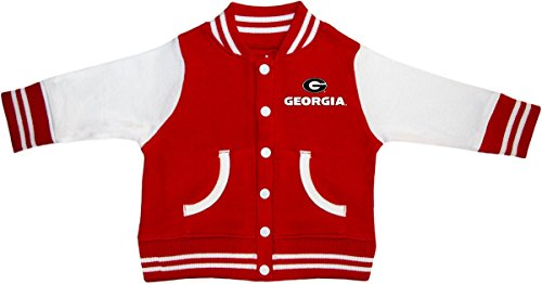 Creative Knitwear University of Georgia Bulldogs Circle G Newborn Infant Baby Varsity Jacket,Red,3-6 ()