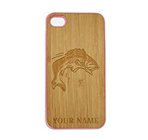 SudysAccessories Personalized Customized Custom Bass Fish On Wood Engraved Pink iPhone 4 Case - For iPhone 4 4S 4G - Designer Real Bamboo Back Case Verizon AT&T Sprint(Send us an Amazon email after purchase with your choice of NAME)