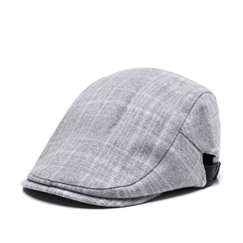 (Gray Plaid Men's Ivy Gatsby Newsboy Driving Hat Wool Visor Beret Golf Scally Hunting Irish Cap)