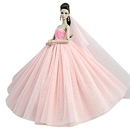 BEESCLOVER Puppe Kleid Hohe qualit/ät Handgemachte Langen Schwanz Abendkleid Kleidung Spitze Hochzeitskleid Schleier F/ür Barbie Puppe Beste Geschenk EINWEG Pink