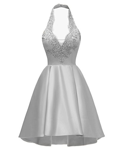 Yilis High Low A line Halter Neck Lace Party Prom Gown Short Homecoming Dress Silver US2 from Yilis