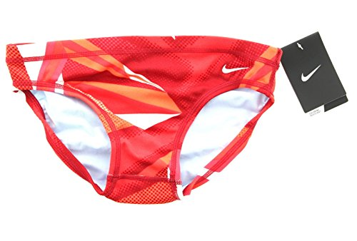 Nike Mens Boys Youth Mixed Jagged Geo Swim Lifeguard Athletic Brief Swimsuit TESS0023 (26, Varsity Red)