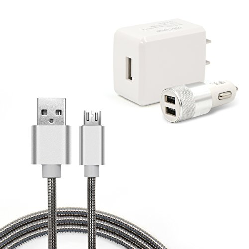 Micro Usb Dual Charger (Ula Dual USB Car Charger Adapter 3.1A Fast Charging Double Rapid USB Outlet + 3.3ft Micro USB Charging Cable 2.1A + One Port USB Wall Charger Plug 3 in 1 Travel Charging Sets)