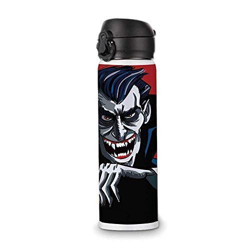 Vampire Simple Stainless Steel Bottle,Cartoon Cruel Old Man with Cape Sharp Teeth Evil Creepy Smile Halloween Theme for Indoor Outdoor,9