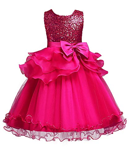 MOREMOO Little Girl's Sequined Ruffle Tulle Bridesmaid Wedding