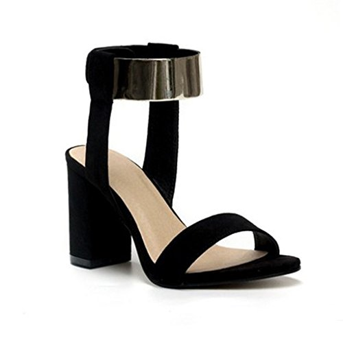 Toe Metal Open Ring With Black High Thick Sandals ZHIFENGLIU Ladies Velcro Summer Sandals Heel qBxXI6w