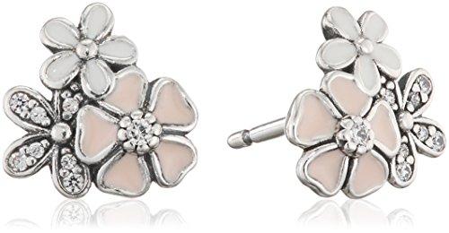 Pandora Women's Poetic Blooms, Earring Studs 290686ENMX, Silver