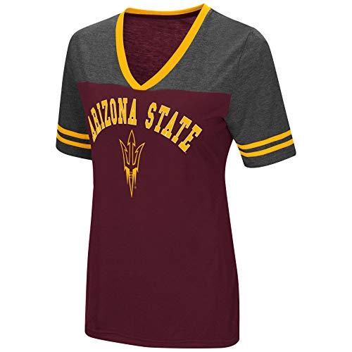 9d415103 Colosseum Women's NCAA Varsity Jersey V-Neck T-Shirt-Arizona State Sun  Devils-Maroon-Small