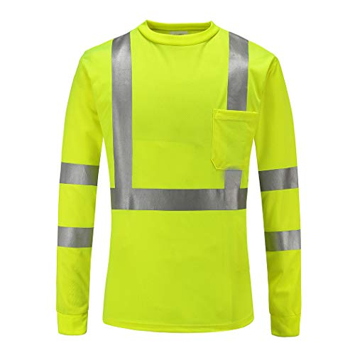 High Visibility Shirts, A-SAFETY Men's Workwear Long Sleeve Performance Safety T-Shirt with Pocket, X-Large, Lime-yellow